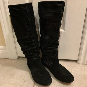 UGG Abilene Boots Scrunched Perforated Black